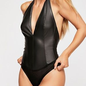 NWT Free People Living In Leather Body Suit M